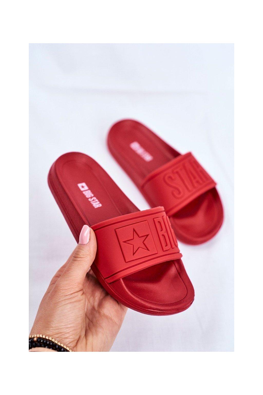 Detské šľapky farba červená kód obuvi DD374156 RED