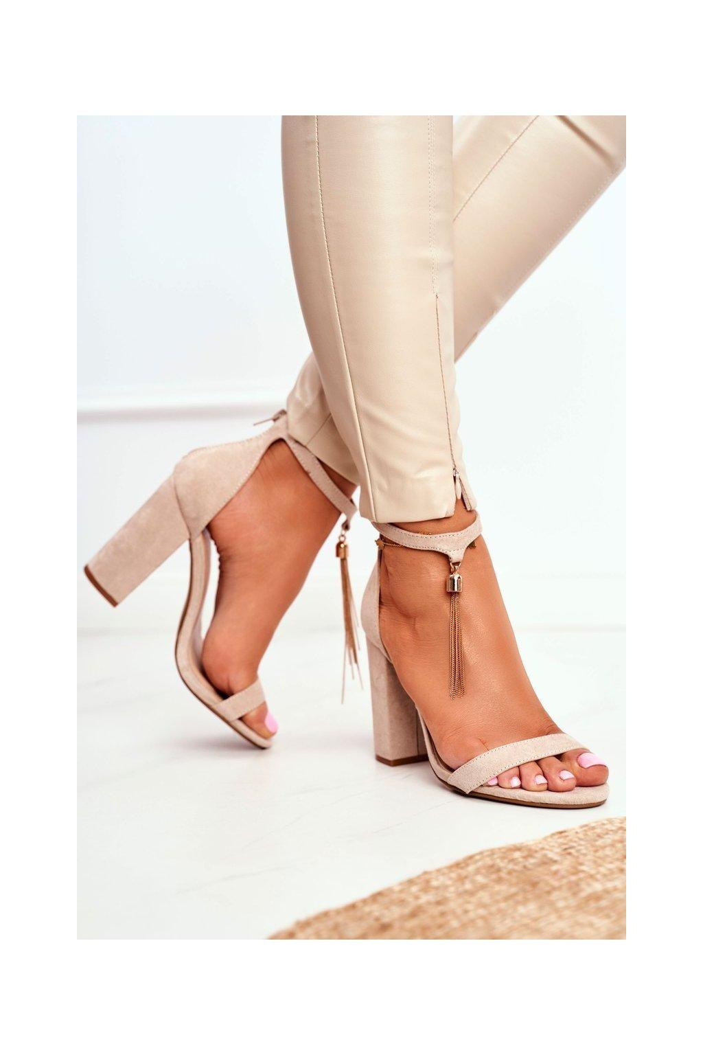 Dámske béžové semišové Sandále