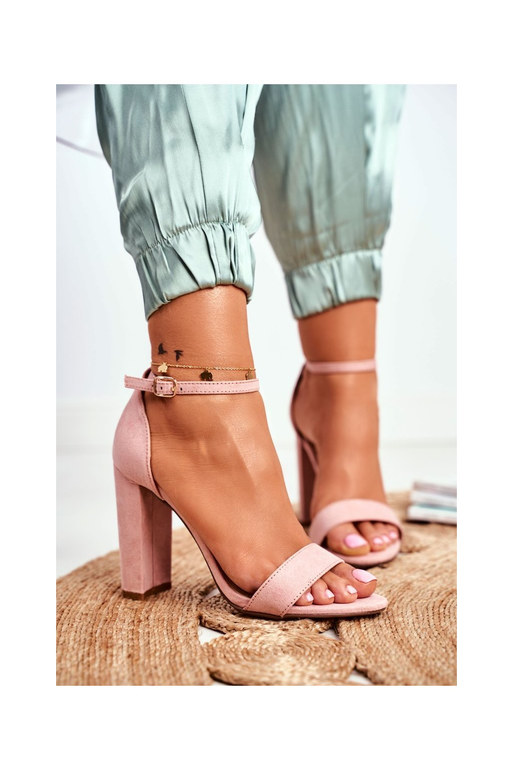 Dámske Sandále na podpätku Semišové ružové Anastasie