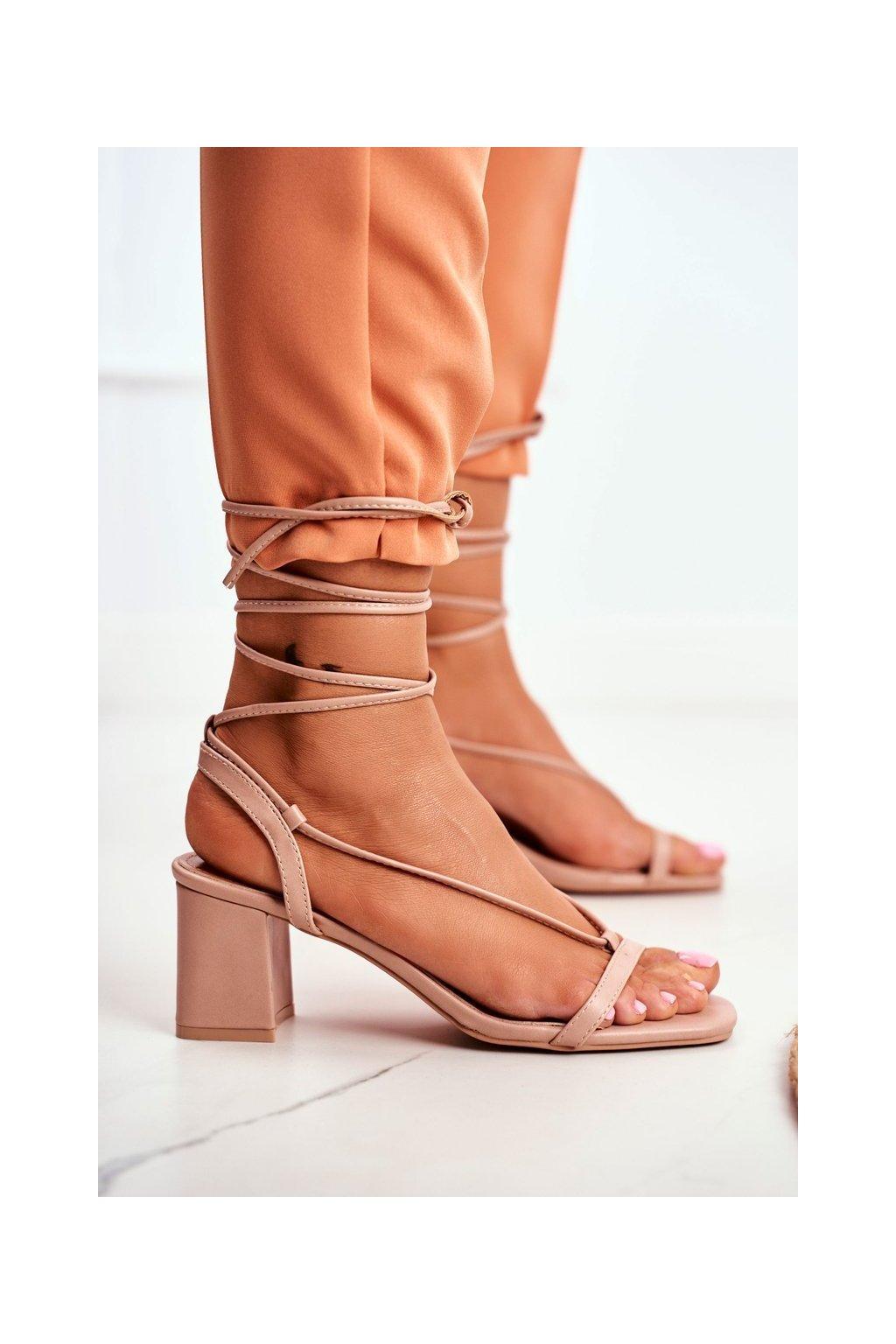 Dámske Sandále na podpätku Šnerované Béžové Morning