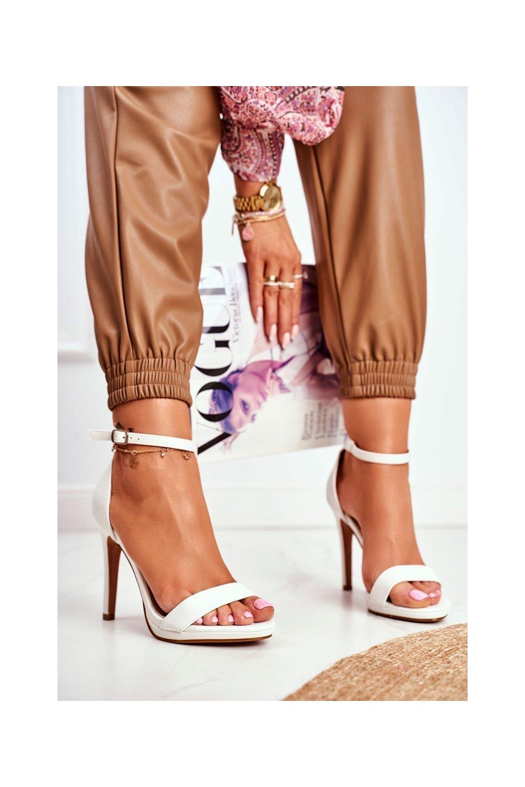 Dámske Sandále na podpätku biele Frenzy