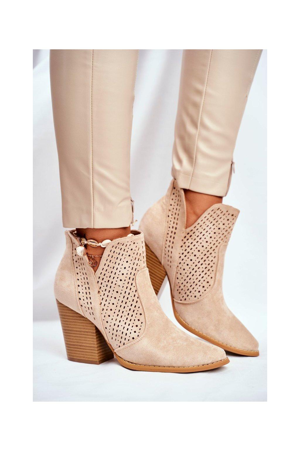 Členkové topánky na podpätku farba hnedá kód obuvi A5616-39 L.KHAKI