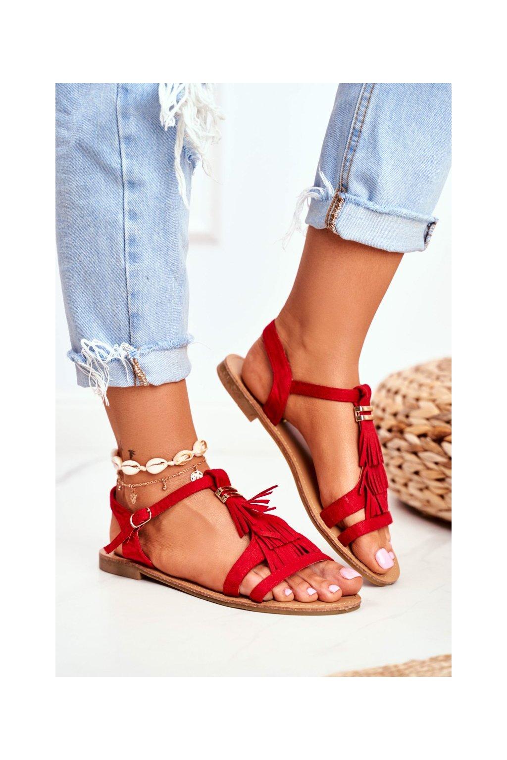 Dámske ploché sandále farba červená kód obuvi W-08 RED