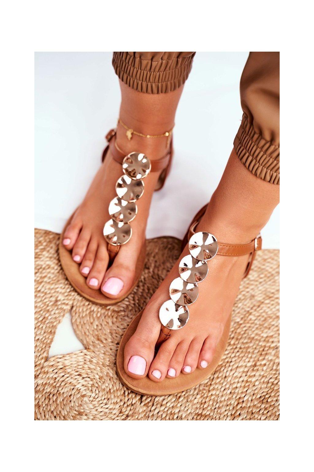Dámske Sandále Zlaté plíšky ťavia Casandra