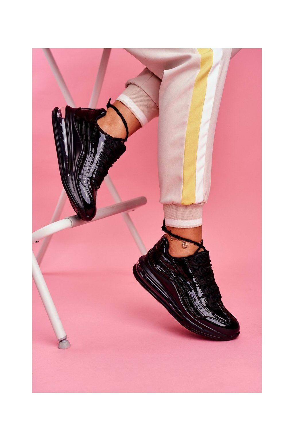 Dámska športová obuv Sneakers Čierne Lakovaná Meff