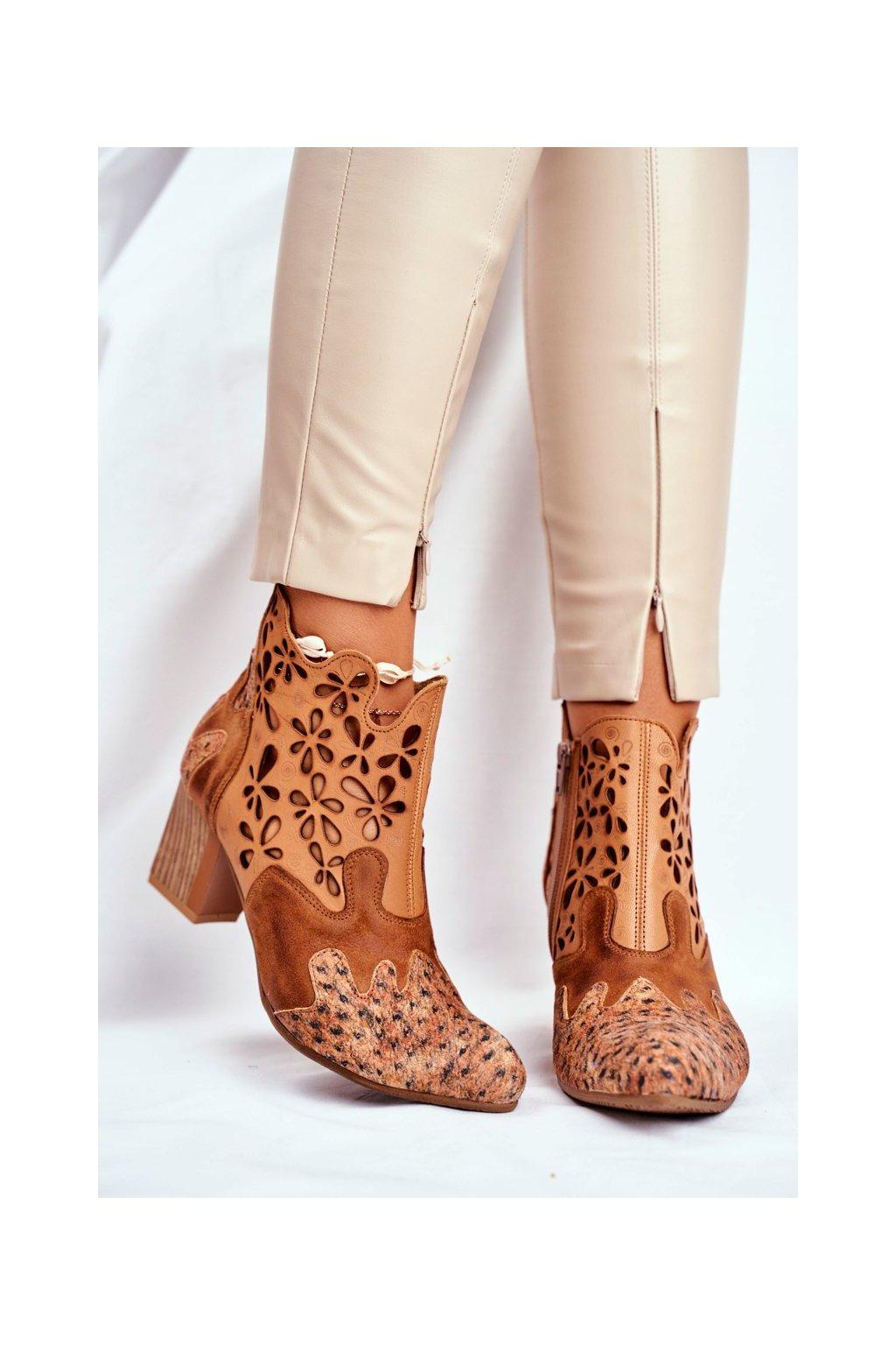 Dámske členkové topánky na podpätku jarné Majka ťavia 04369-29