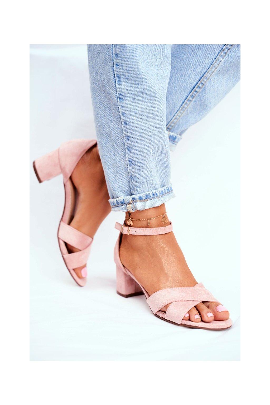 Dámske semišové Sandále ružové Nela