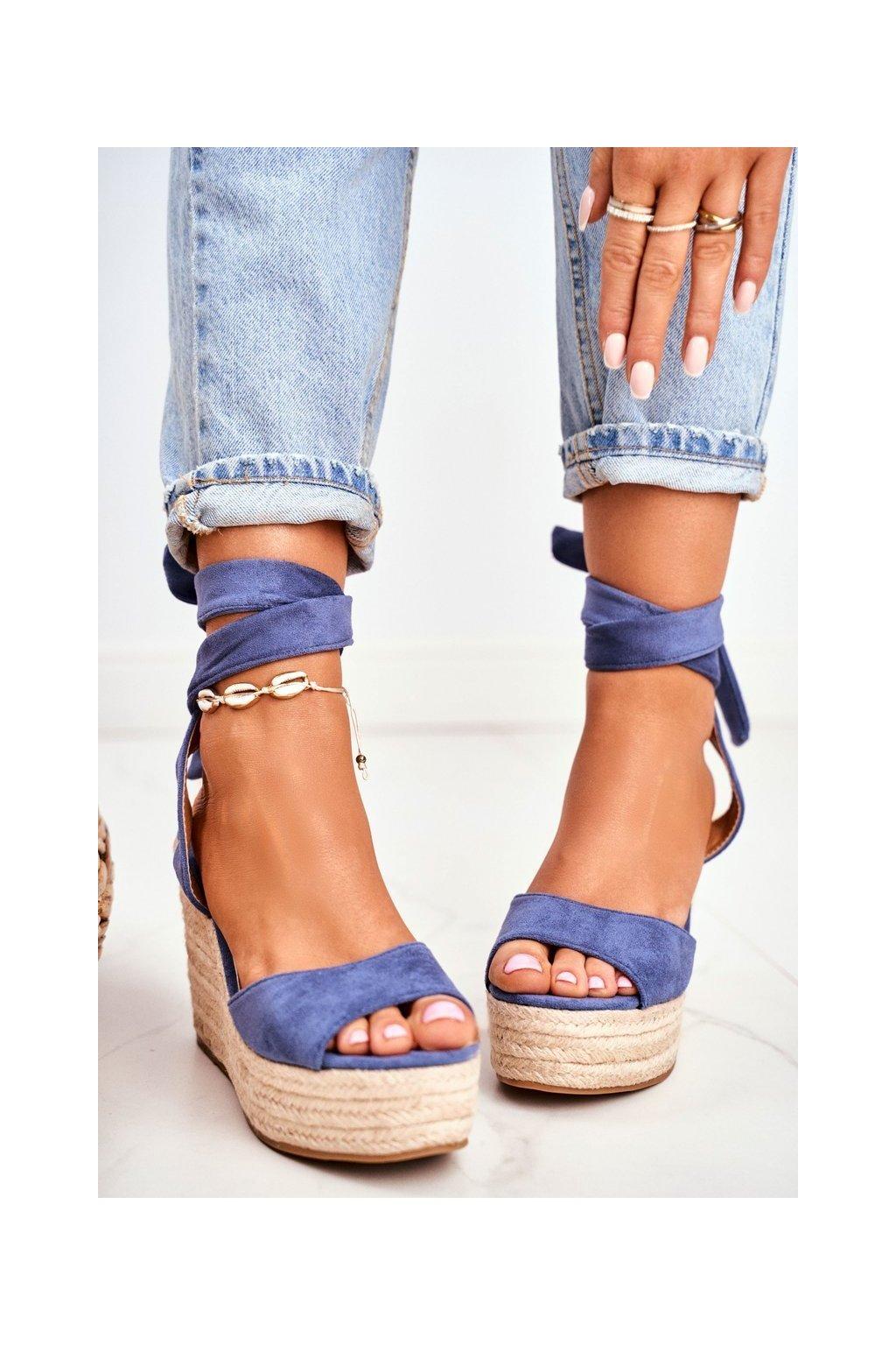 Dámske Sandále na platforme modré Ollie