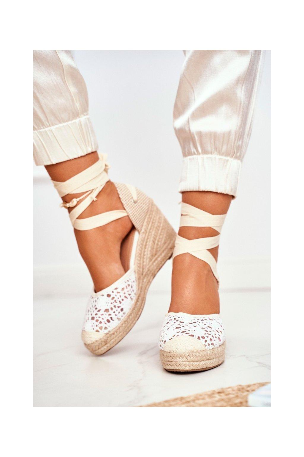 Dámske Sandále na platforme biele Vieno