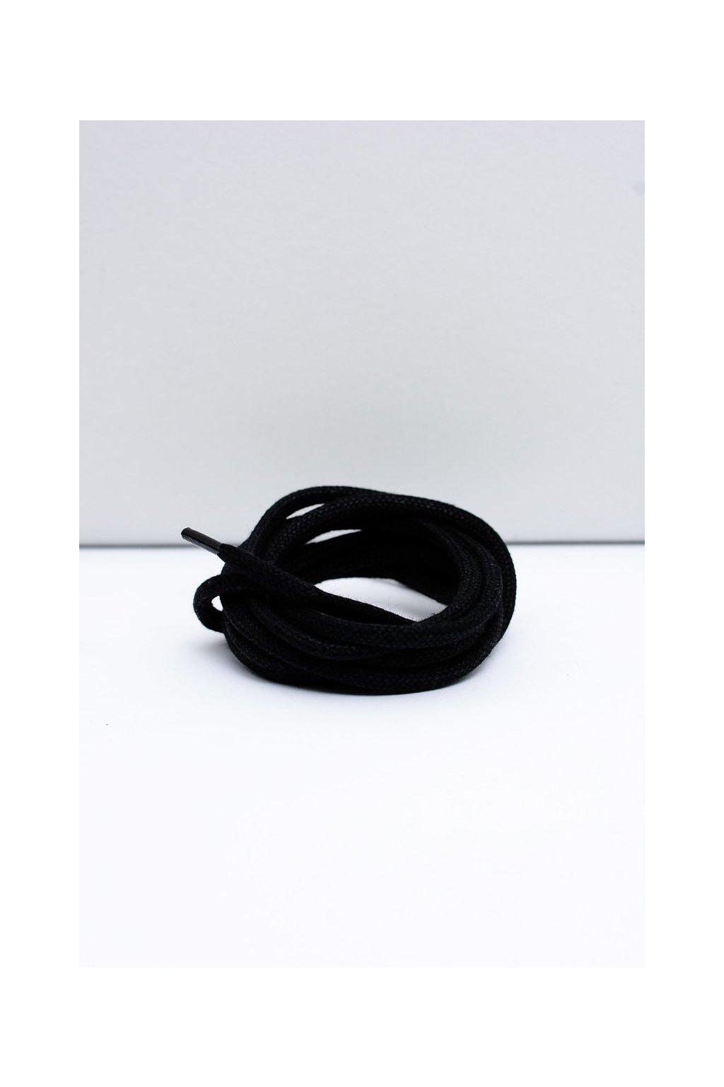 Šnúrky do topánok farba čierna kód Okrągłe grube wosk czarne