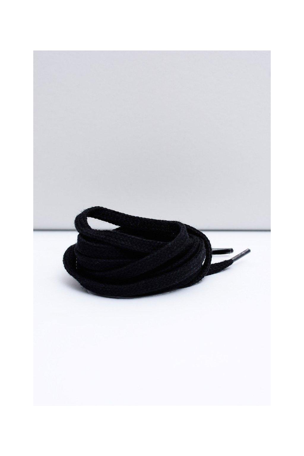 Šnúrky do topánok farba čierna kód Płaskie czarne sznurowadła