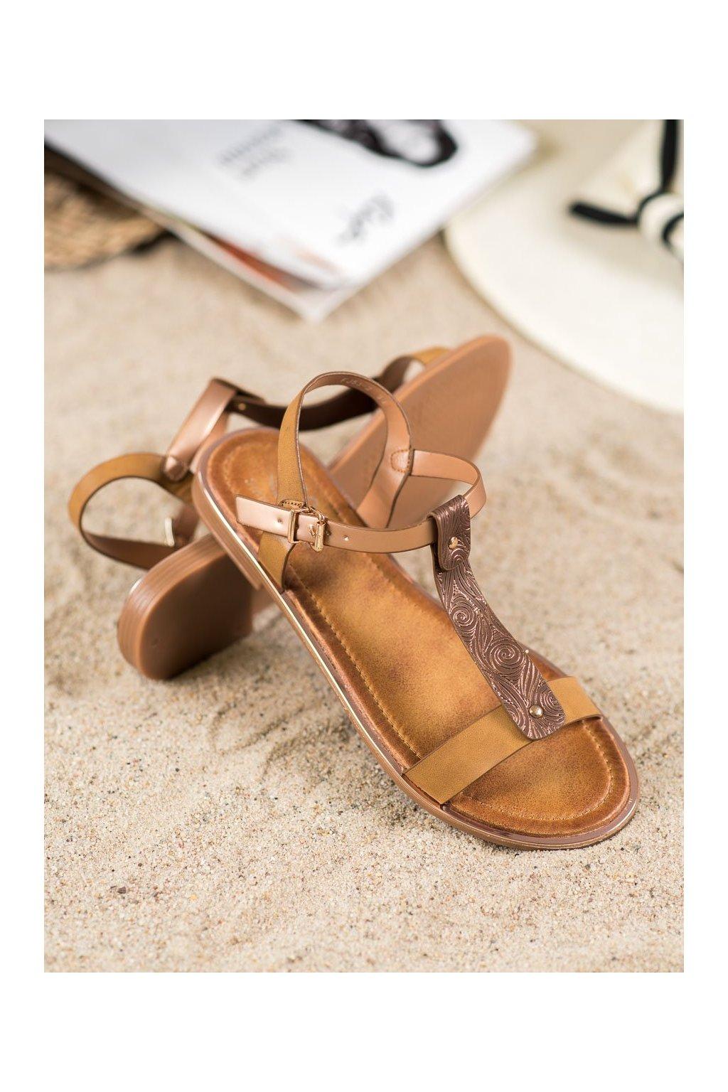 Hnedé sandále Small swan kod FJ53C