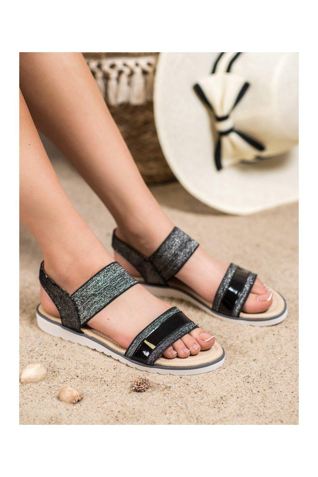 Čierne sandále s plochou podrážkou Filippo kod DS755/19B