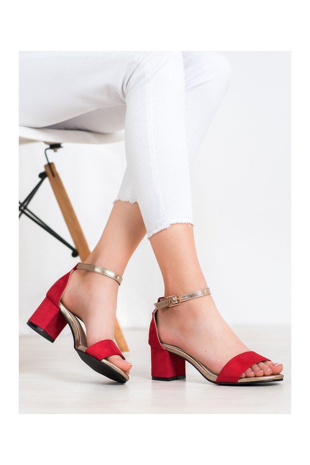 Červené sandále na podpätku Goodin kod FL1026R/GO