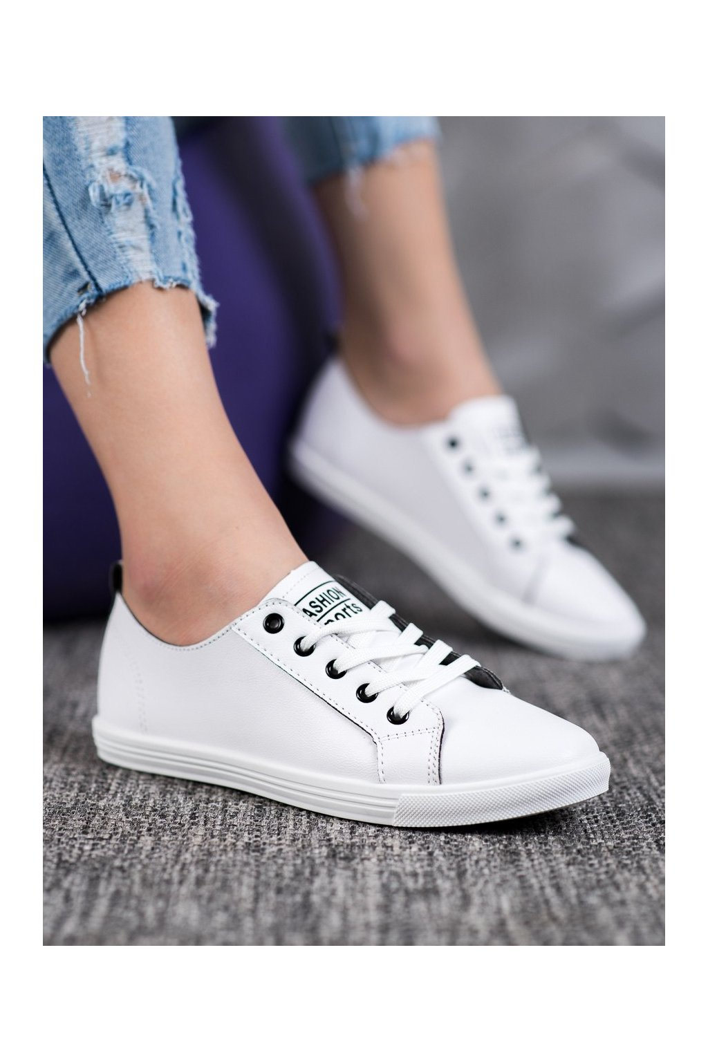Biele tenisky Ideal shoes kod LX-9859W/B