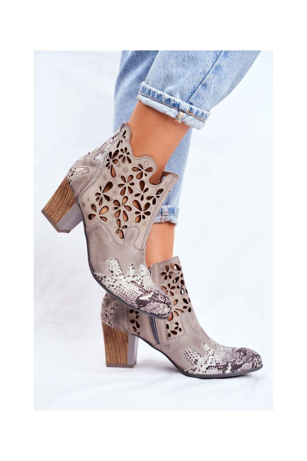 Dámske členkové topánky na podpätku jarné Majka sivé 04369-13