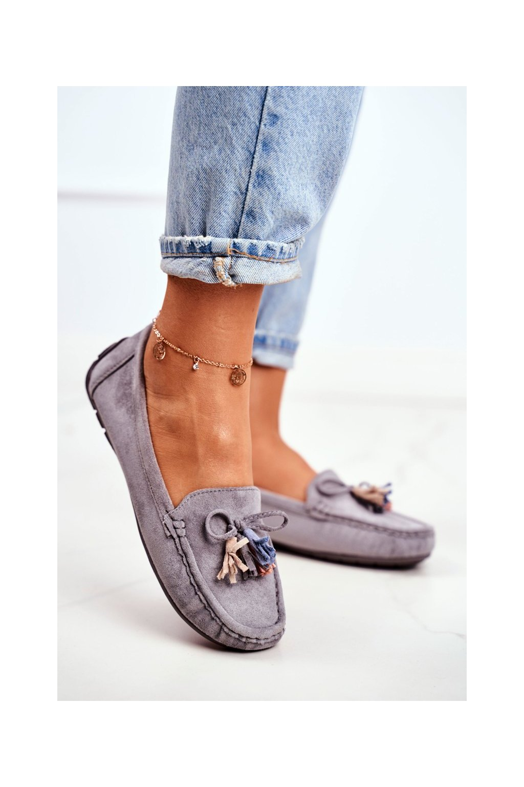 Dámske mokasíny farba sivá kód obuvi 20PB35-2003 GREY