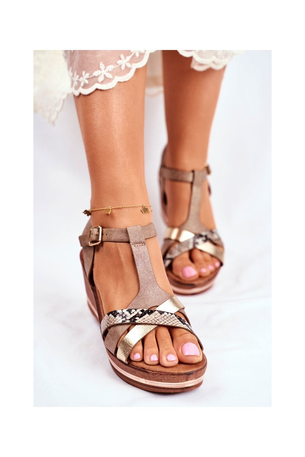Dámske Sandále na platforme béžové Enroll