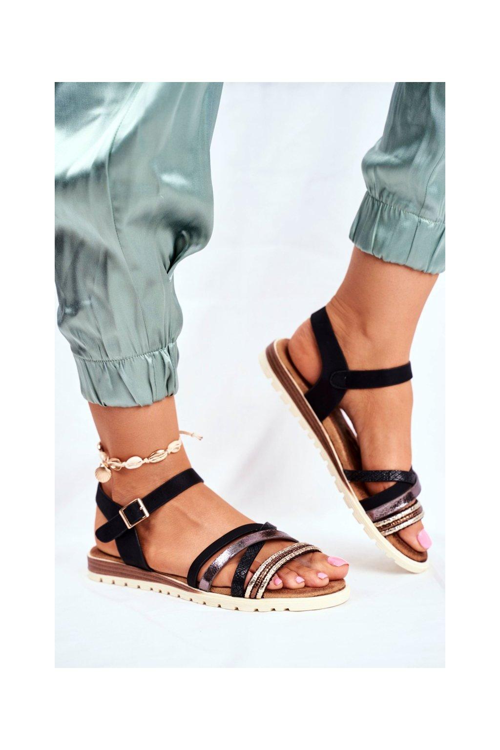 Dámske Sandále ploché čierne Replay
