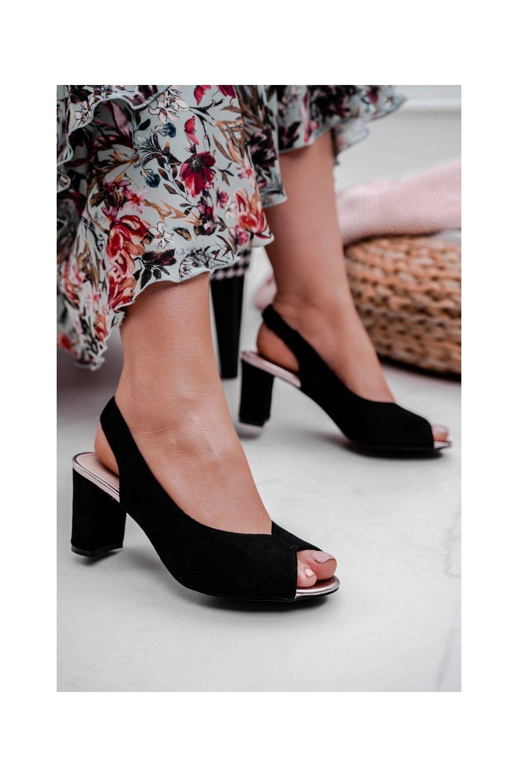 Dámske Sandále na podpätku Semišové čierne Pollem kód 20SD98-1612 BLK MIC