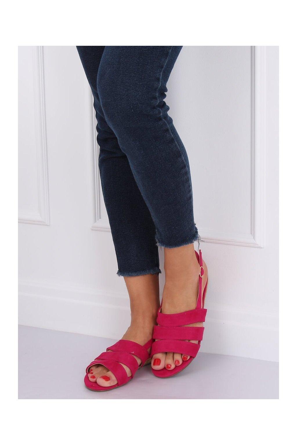 Dámske sandále s plochou podrážkou ružové na plochom podpätku 9291