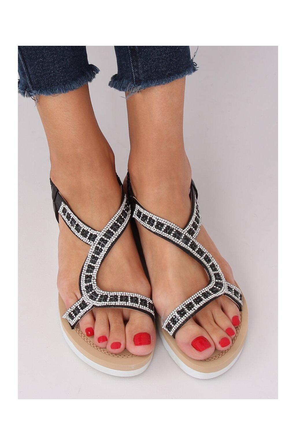Dámske sandále čierne na plochom podpätku HD-129