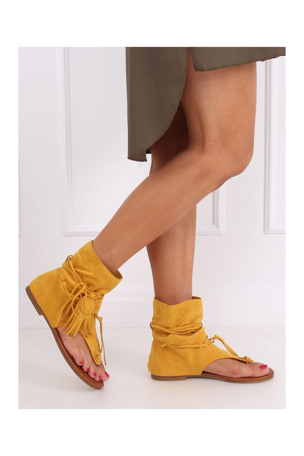 Dámske sandále žlté na plochom podpätku SL1010P