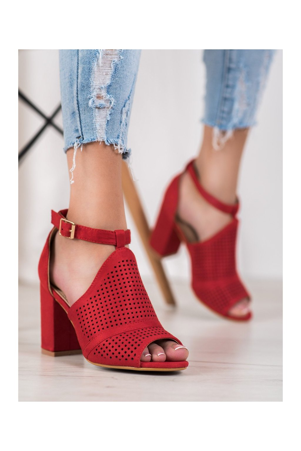 Červené sandále Small swan kod TS30R