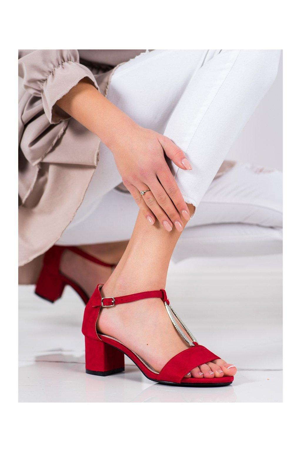 Červené sandále na podpätku Goodin kod GD-FL1027R