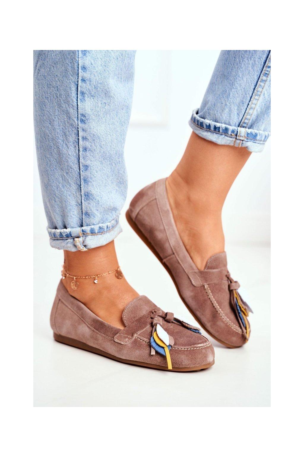 Dámske mokasíny farba hnedá kód obuvi 04494-04/00-5 BEŻ BRUDNY