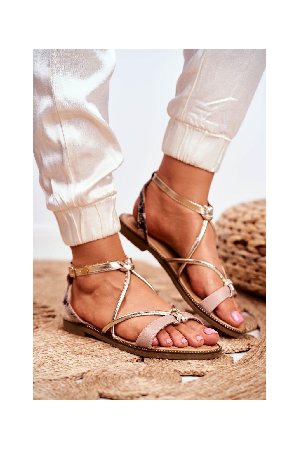 Dámske sandále s plochou podrážkou farba hnedá kód obuvi LJ281 NUDE