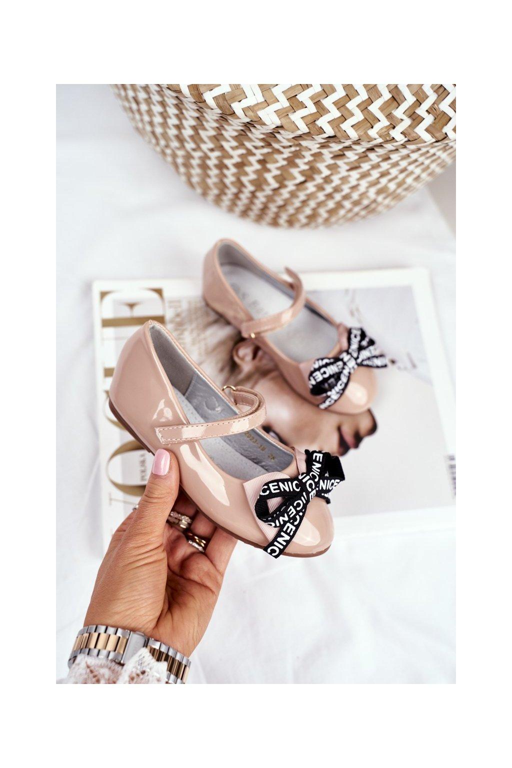 Detské balerínky farba hnedá kód obuvi 2023-1M MUDE