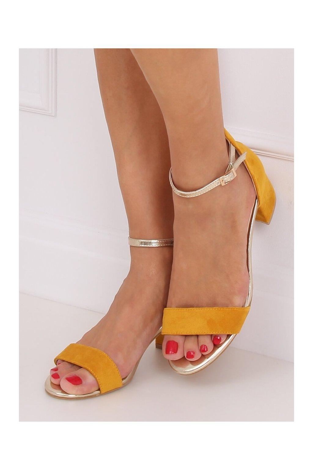 Damske sandále žlté na stĺpovom podpätku M307P
