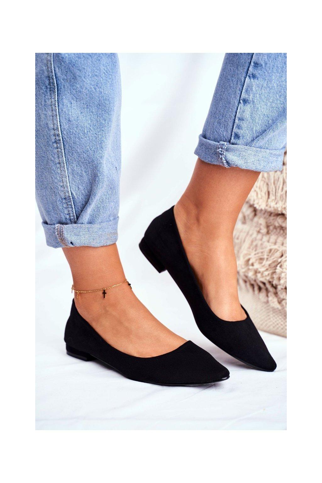 Dámske balerínky farba čierna kód obuvi 20BL35-2140 BLK