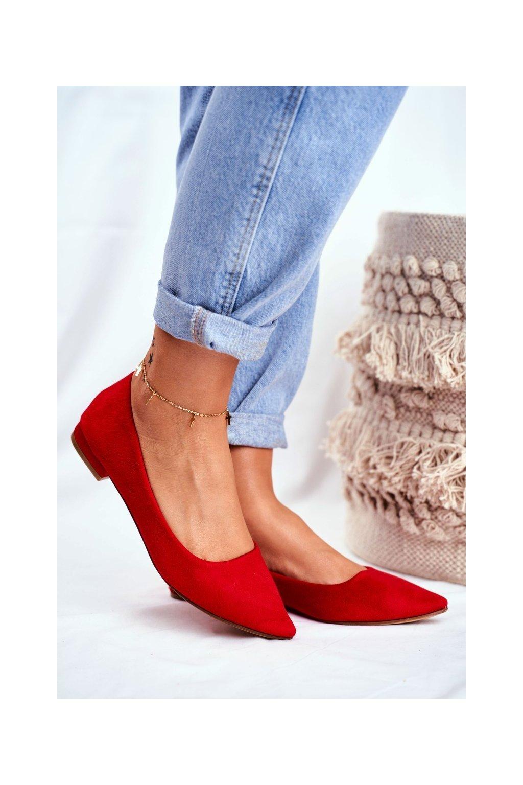 Dámske balerínky farba červená kód obuvi 20BL35-2140 RED