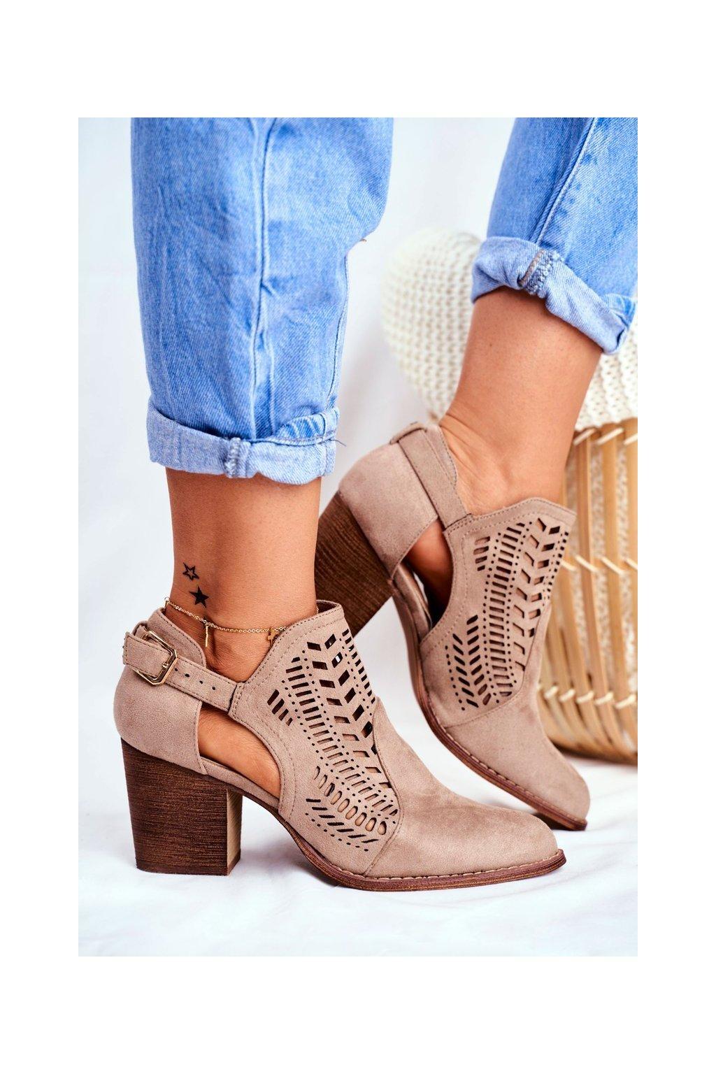 Dámske jarné topánky na podpätku Semišové Béžové Velluci