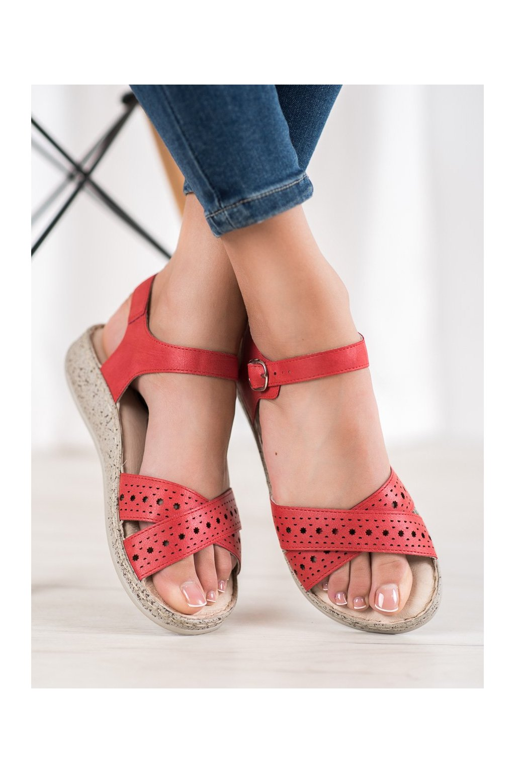 Červené sandále Shelovet kod B119-05-02ROJO