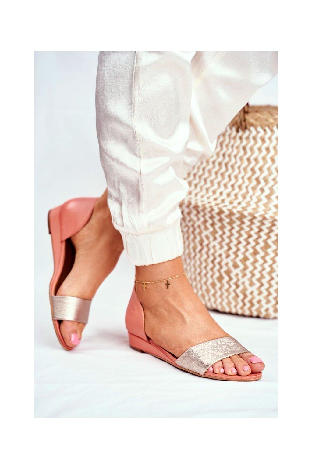 Dámske sandále s plochou podrážkou farba žltá kód obuvi 01971-48/00-5 BRZOSKWINIA