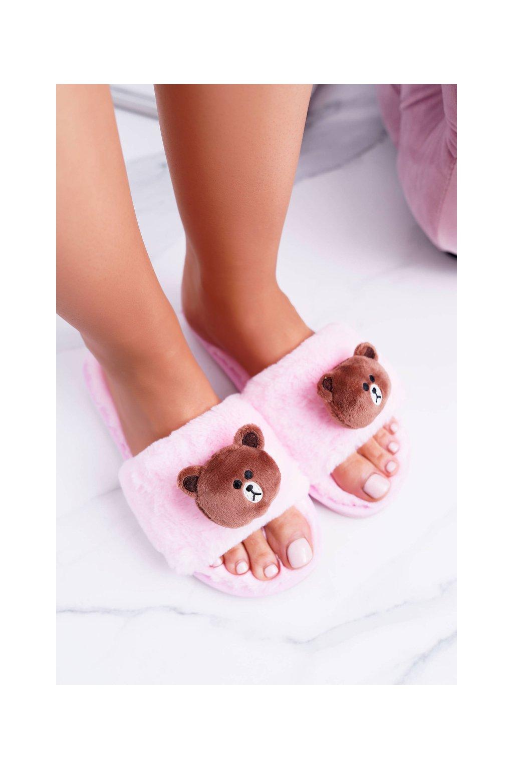 Lu Boo Dámske ružové plyšové šľapky Teddy LB01  Pink
