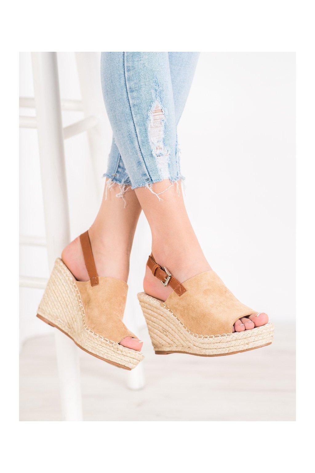 Hnedé sandále Small swan kod FL68KH