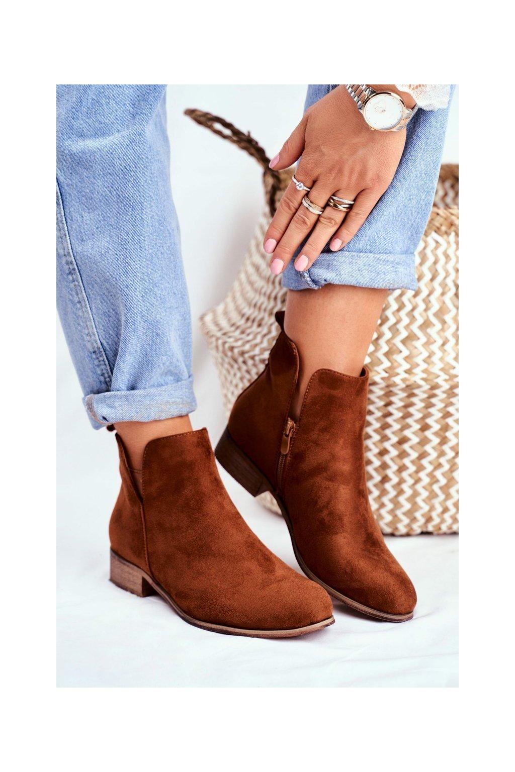 Členkové topánky na podpätku farba hnedá kód obuvi 20BT35-2430 CAMEL
