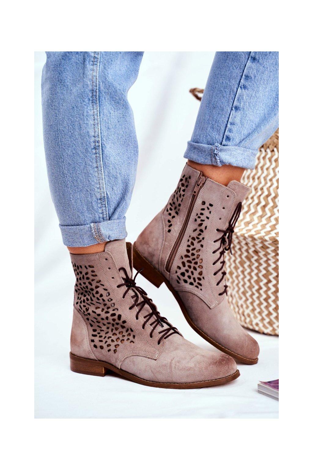 Členkové topánky na podpätku farba hnedá kód obuvi 2565 CAPP 021