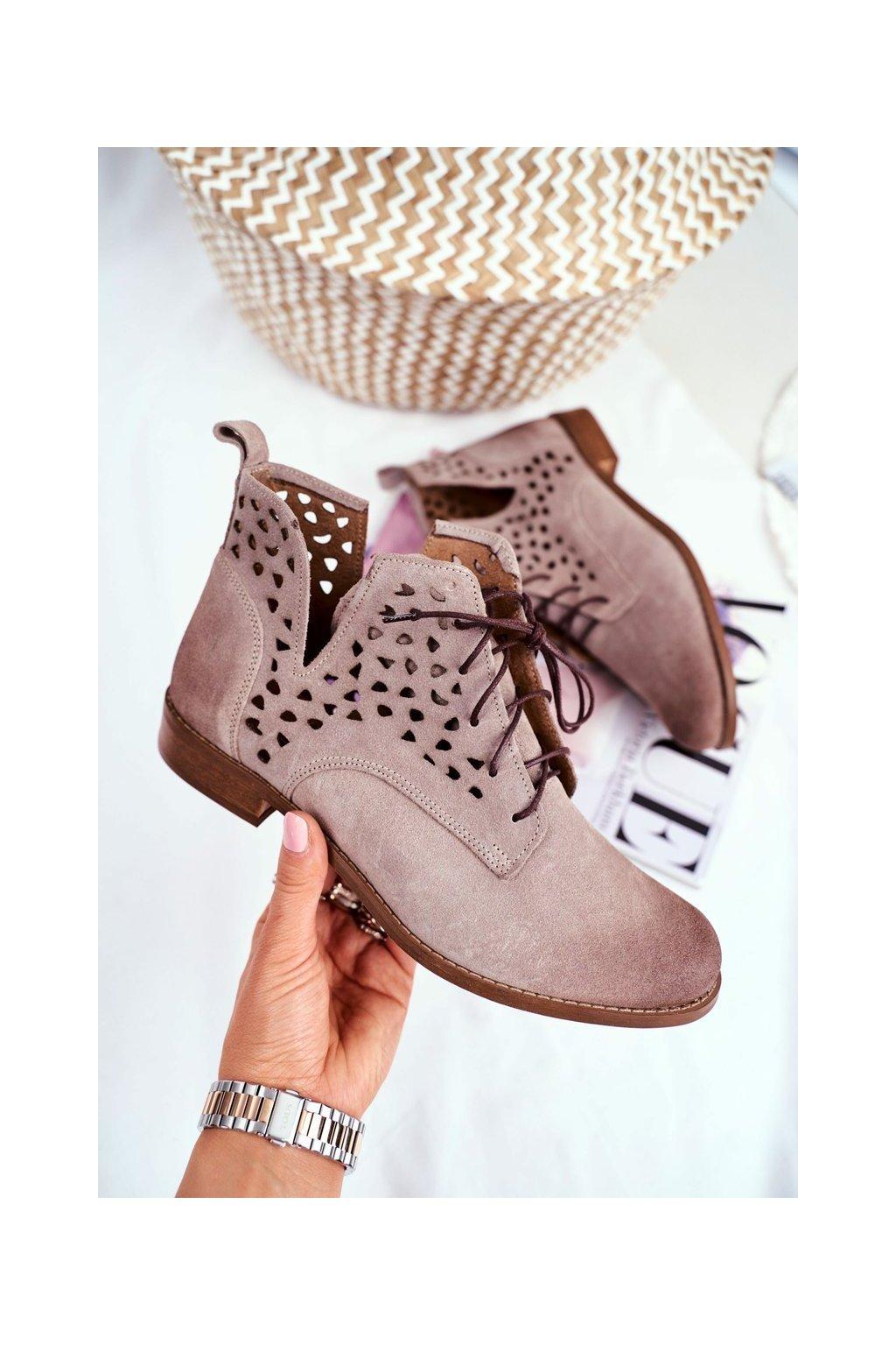 Členkové topánky na podpätku farba hnedá kód obuvi 2566 CAPP 021