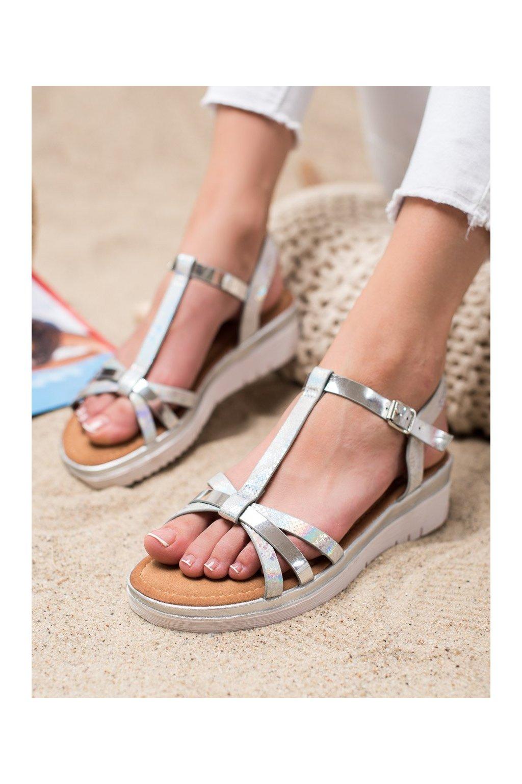 Sivé sandále Small swan kod SK-68S