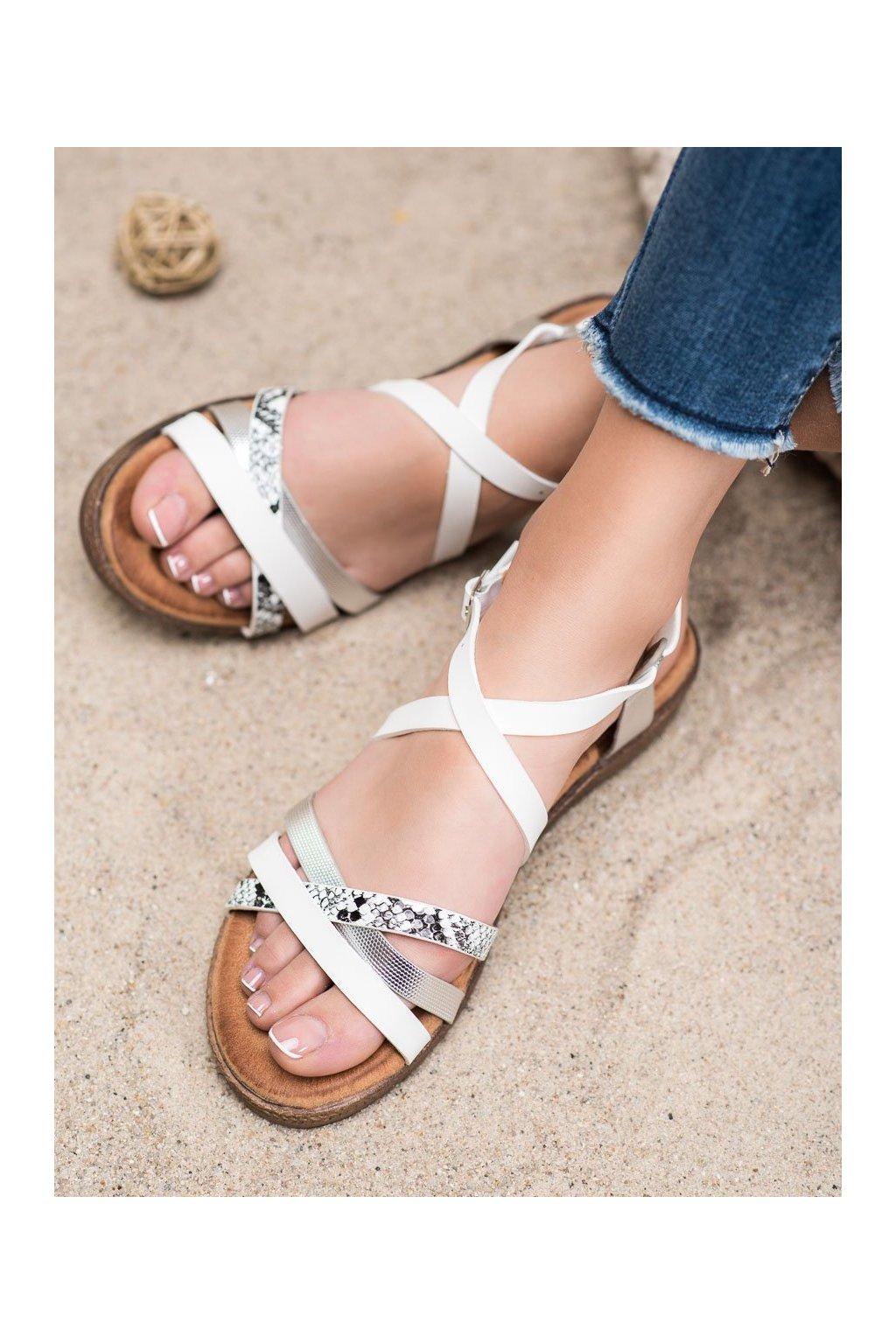 Biele sandále s plochou podrážkou Small swan kod LNS78W