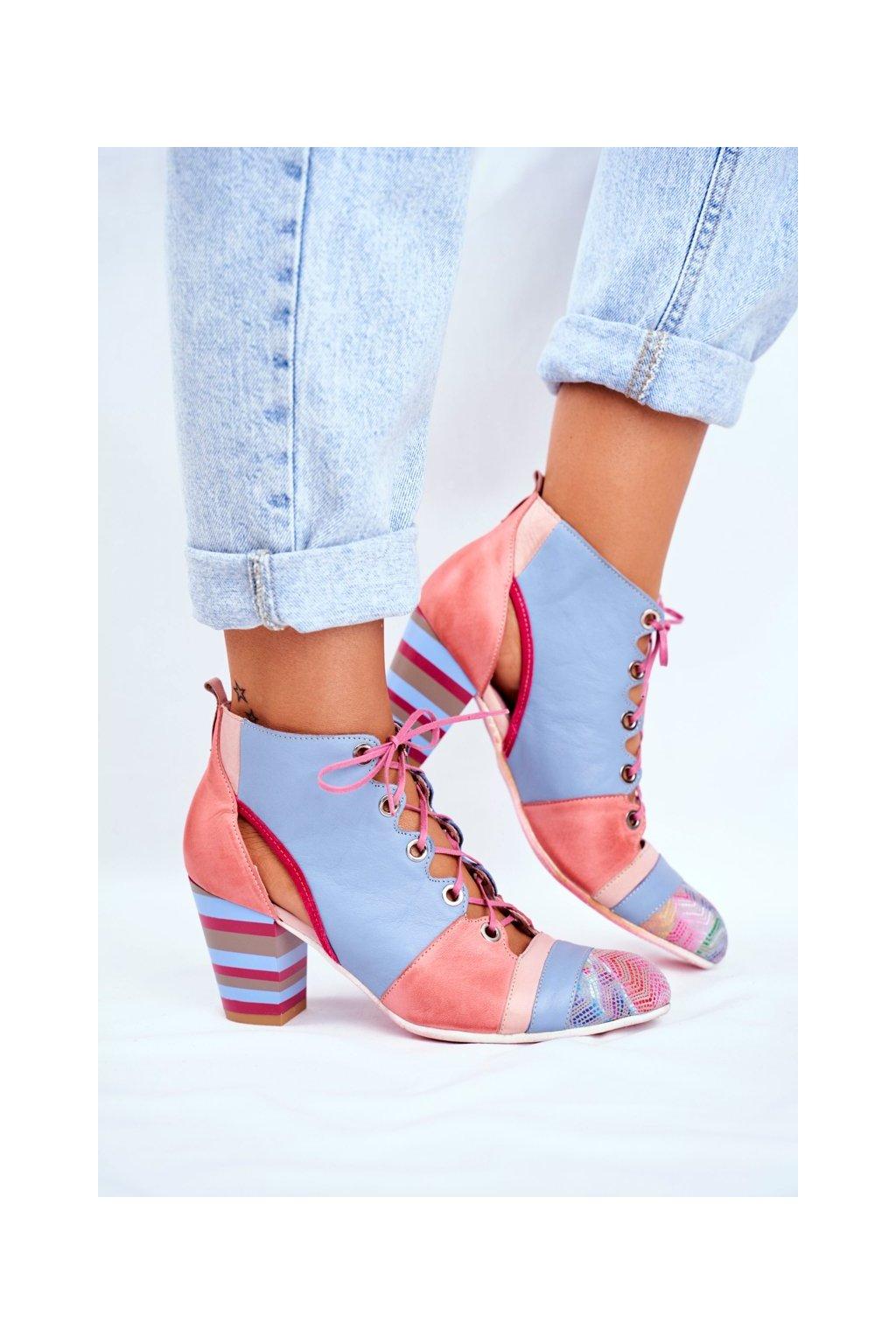 Členkové topánky na podpätku farba ružová kód obuvi 03938-15/00-5