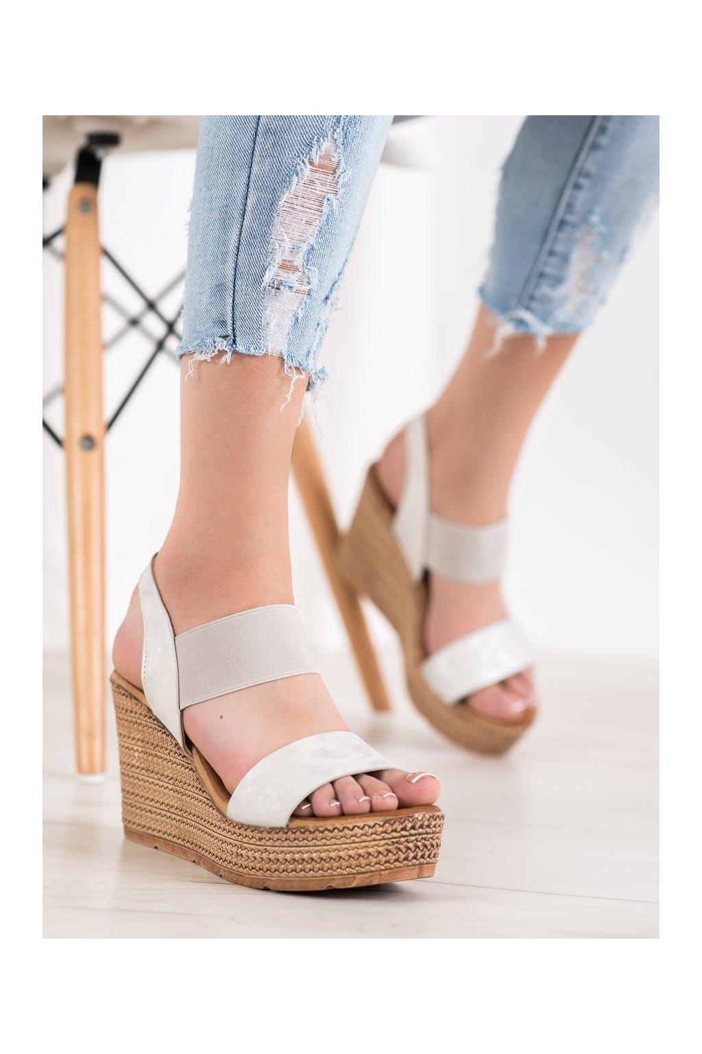 Biele sandále na platforme Sea elves kod 6440W