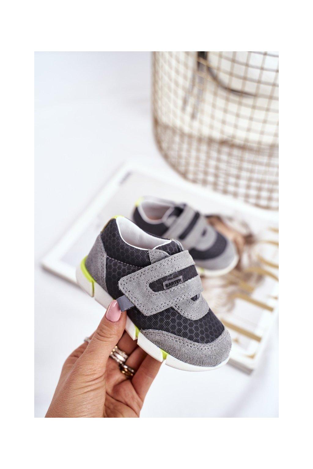 Detské členkové topánky farba sivá kód obuvi T-71949/SA1