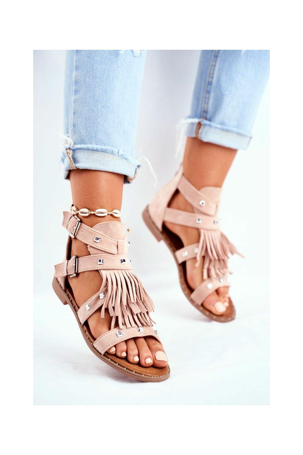 Dámske ploché sandále farba hnedá kód obuvi 100-150SA NUDE