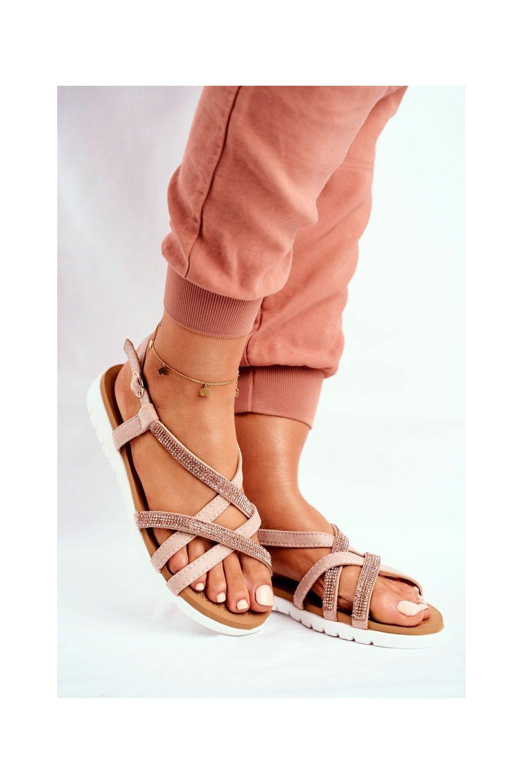 Dámske ploché sandále farba ružová kód obuvi 406-6 CHAMPAGNE